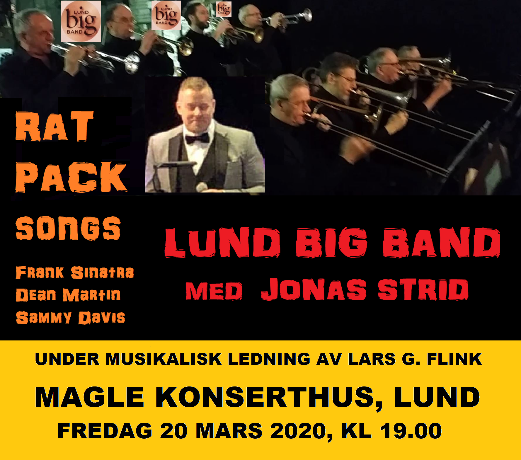 Lund Big Band Rat Pack konsert 20 mars 2020